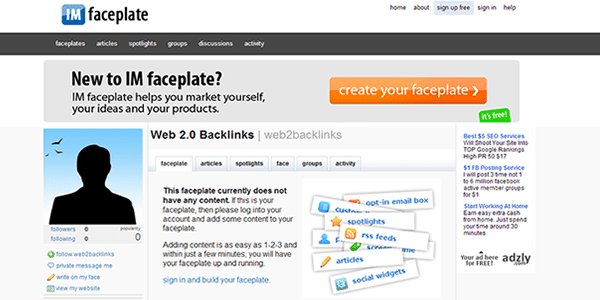 It takes just 2 minutes to get a free Faceplate backlink