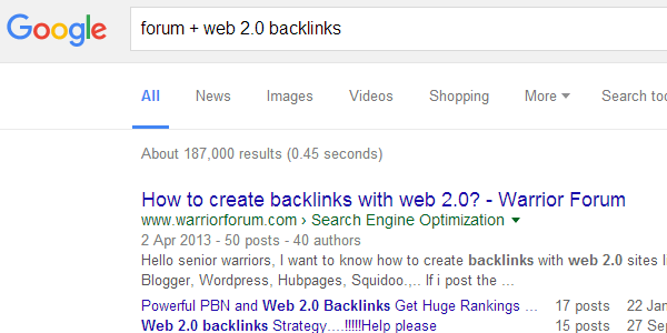Go and get some free forum backlinks if there is something available in your niche
