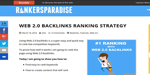 Get free backlinks from bookmarking sites like StumbleUpon