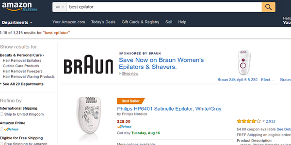 Now add you keyword in the search bar at Amazon.com