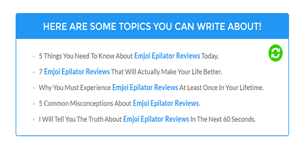 Then you will be presented with 5 SEO Pressor blog Title's to use for free