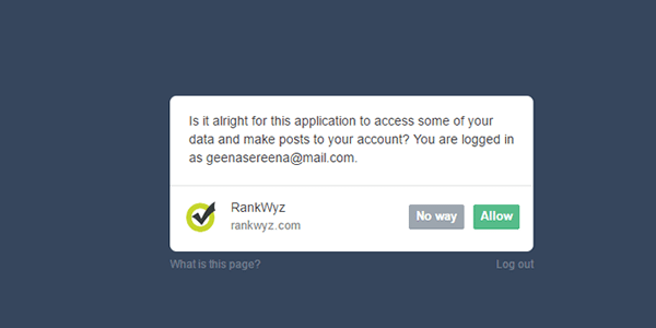 Now give Rankwyz permission to access your Web 2.0 blogs