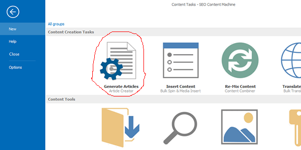 "Select the ""Generate Articles"" tab"