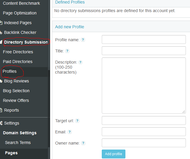 Set Up Directory Submissions Profile