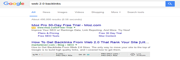 Take a look at the top ranking sites SEO metrics using MozBar