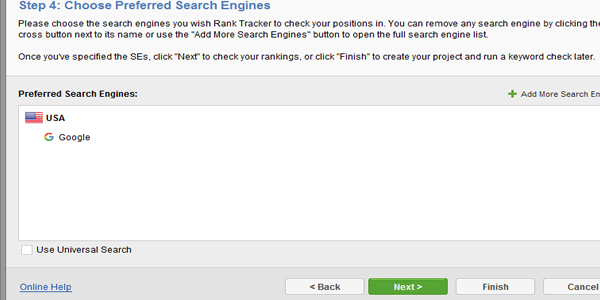 Now select your preferred search engine or engines