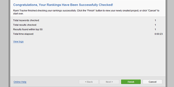 Hit the finish button to see your ranking report