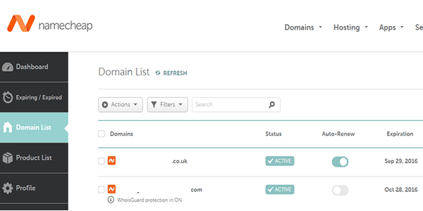Click on domain list