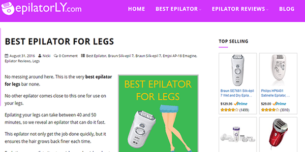 My epilator Amazon affiliate site