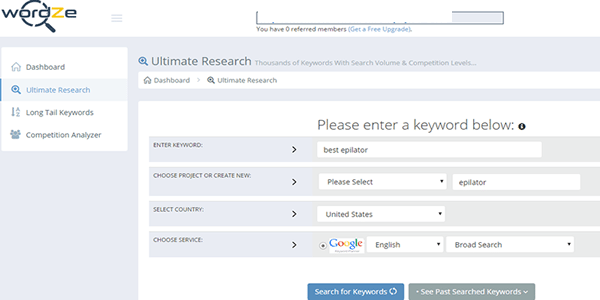 Go to Wordze.com to find out your keyword search volume