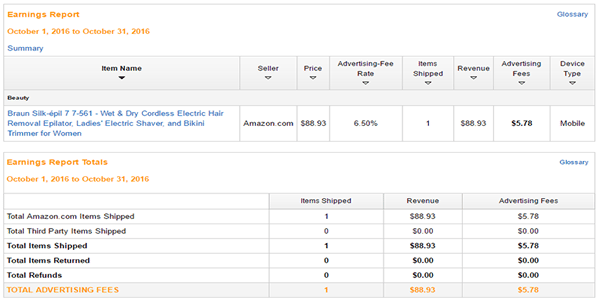 October Amazon affiliate site earning report