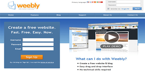 Set up your free Weebly Web 2.0 site