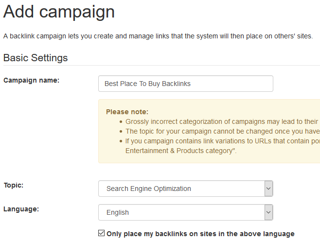 Name your Backlinks Campaign