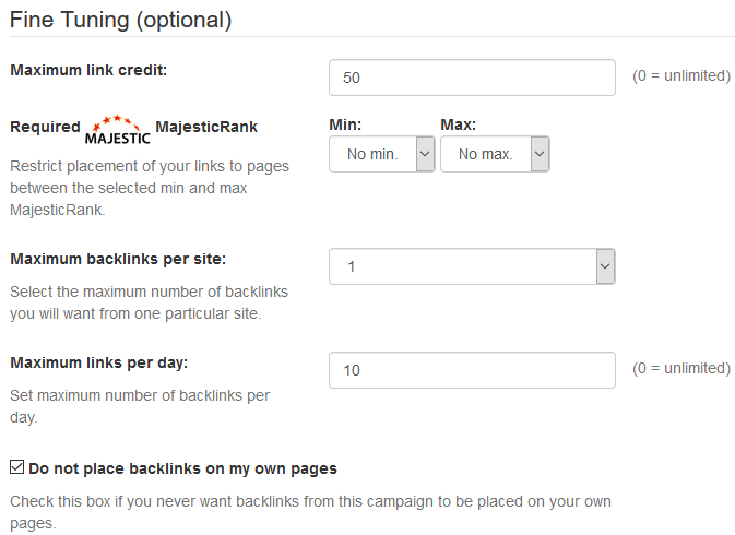 Select Number of Backlinks Per Site